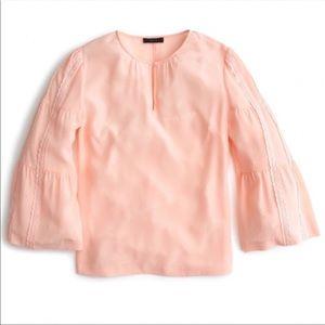 J Crew Womens Blouse Top Bell Sleeve Peach Silk